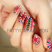 LOVELY COLOR FLAG FASHION JAPANESE 3D NAIL ART 24 nails Sold By FATTYCAT:Amazon:Beauty
