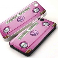 PINK Volkswagen VW on on iPhone 5 Case, iPhone 4 4s Case, Samsung Galaxy S3 & S4 Case, BlackBerry Z10 Case (Leave Us A Message Which You Choose)