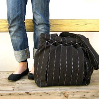 Striped Smocked Pleated  Black Jet Bag by StarBags on Etsy