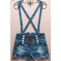 061401 Retro double-breasted high waist denim overalls