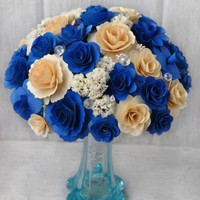 Sapphire and Ivory Wood Bouquet- Custom Order | AccentsandPetals - Wedding on ArtFire
