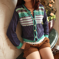 Tribe Stripe & Anchor Pattern Cardigan - Blue