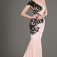 unique black lace and pearl pink chiffon mermaid prom dresses   long elegant prom gowns with train   cheap stunning dress hot