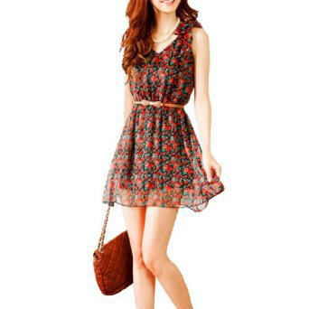 Allegra K V Neck Red Flower Pattern Bowknot Shoulder Dress XS for Lady