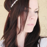 Rhinestone Chain Elastic Headband by shirkdesigns on Etsy