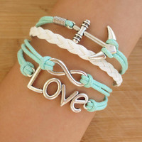 love  bracelet  anchor Bracelet   mother's day gift  double heart bracelet infinity bracelet new  bracelet