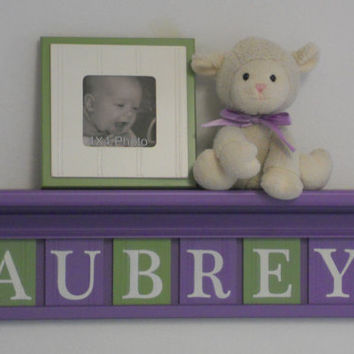 "Purple Green Kids Wall Shelf - Nursery Shelves - 24"" Lilac Shelf with 6 Wooden Letter Plaques in Light Green - AUBREY"