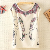 Cute Elephants Print Shirt with Flora Details