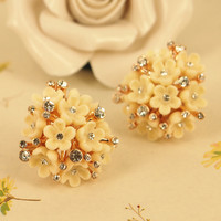 Flower Bouquet with Rhinestone Earrings