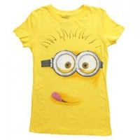 Despicable Me Silly Minion Face Yellow Juniors T-shirt:Amazon:Clothing