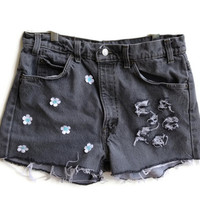 Grey Levi High Waisted Shorts