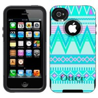 Otterbox Commuter Series Aztec Andes Tribal White and Teal Pattern Hybrid Case for iPhone 4 & 4S