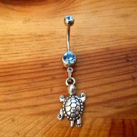 Belly button ring  Silver turtle Belly ring by ChelseaJewels