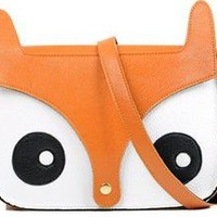 Retro Shoulder Bag Messenger School Tote Cute Fox Head PU Womens Lady Handbag