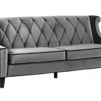 Armen Living 844 Barrister Sofa, Gray Velvet, Black Piping:Amazon:Home & Kitchen