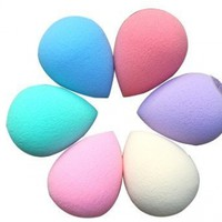 WAWO 6pc Tear Drop Shape Pro Beauty Facial Makeup Blender Foundation Puff Sponges COLORS BY RANDOM:Amazon:Beauty