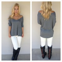 Charcoal Grey V-Neck Basic Modal Top