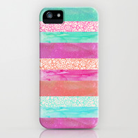 Tropical Stripes - Pink, Aqua And Peach Colorway iPhone & iPod Case by Tangerine-Tane