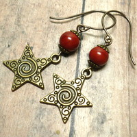 Swirling Stars w Red Jasper and Vintaj Brass Ear Wire Dangle Earrings