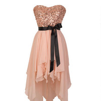 Sequin High-Low Chiffon