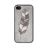 Brown Boho Feather iPhone 4 Case  Plastic iPhone 4 by fieldtrip