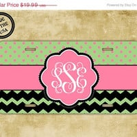 SALE Personalized chevron license plate, front license plate - Lime green chevron polka dot monogrammed - pink car tag monogram (9626)