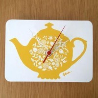 Mini Wall Hanging Clock Tea Pot by decoylab on Etsy