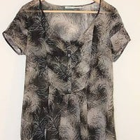 Kimchi Blue Feather Print Black and White Floaty Shirt Top w/ Button Front - M -