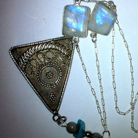 Vintage Sterling Silver Triangle Pendant with Rainbow Moonstones, Labradorite, and Turquoise Necklace on a Unique Silver Chain