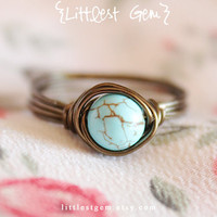 Boho Turquoise Ring, AB grade , wire wrapped ring, handmade jewelry, unique ring, custom, rustic ring
