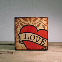 Retro Tattoo Art Love Heart Wood Block Painting -- MatchBlox-1711