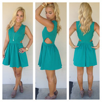 Teal Open Side Babydoll Dress