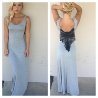 Grey Maxi Dress with Black Lace Bow