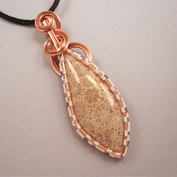 Indonesian Coral Wire Wrapped Pendant in Copper by UptightWanda