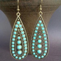 TURQUOISE AND ANTIQUE BRASS LARGE VINTAGE by maytedesigns on Etsy