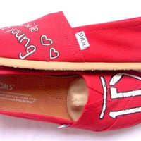 One Direction  Red One Direction Custom TOMS by FruitfulFeet
