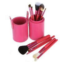Docooler 12pcs Professional Makeup Brush Set Cosmetic Brush Kit Makeup Tool with Cup Leather Holder Case