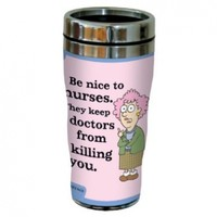 """Tree-Free Greetings sg23868 Hilarious Aunty Acid """"Nice to Nurses"""" by The Backland Studio Ltd. 16 Oz Sip 'N Go Stainless Steel Lined Tumbler"""