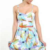 printed summer dress with spaghetti straps