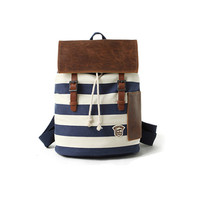 Fashion Stripe Navy Canvas Backpack