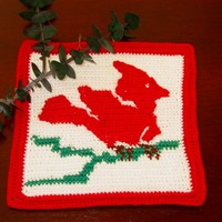 Winter Cardinal On A Branch - Crochet Tapestry Tile - Thread Folk Art