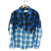 Bleached Flannel - Blue and Black Plaid
