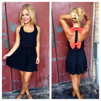Black Dress with Orange Double Bow Back