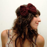Large Bow Headband in Merlot by janellehaskin on Etsy