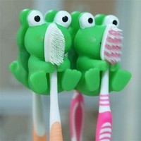 niceEshop(TM) Cartoon animal toothbrush holder wall toothbrush holder 2 pcs green frog