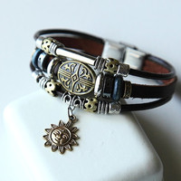 Handwoven fashion brown genuine leather bracelet