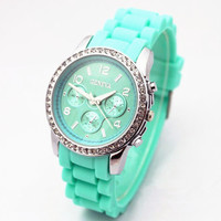 Unique Rhinestone Pave Silicone Watch