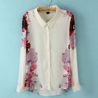 Chiffon Shirt with Rose Printing W8-10-11