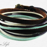 Handwoven ethnic leather hemp bracelet