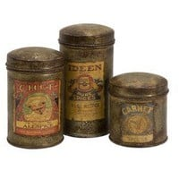 IMAX Addie Vintage Label Small Metal Canisters, Set of 3